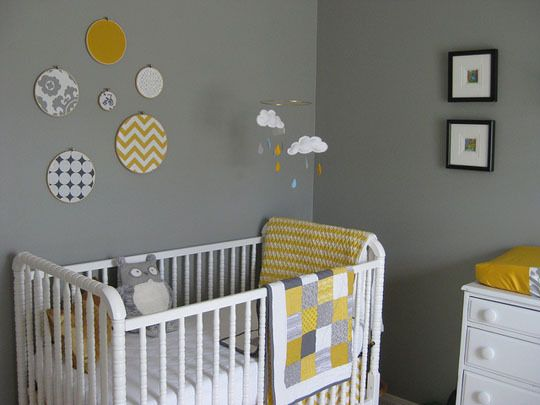 Though we now know Edrie is a girl, we didn't prior to her birth. We knew it was popular, but a grey and yellow color palate worked perfectly for a gender neutral nursery. We were on a tight budget and I love to craft, so many projects in the room were DIY.