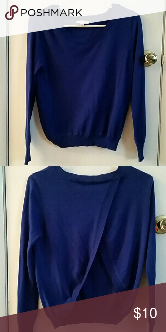 Open Back Sweater Very cute. No holes, I have never worn it. Cobalt blue Pearl Sweaters