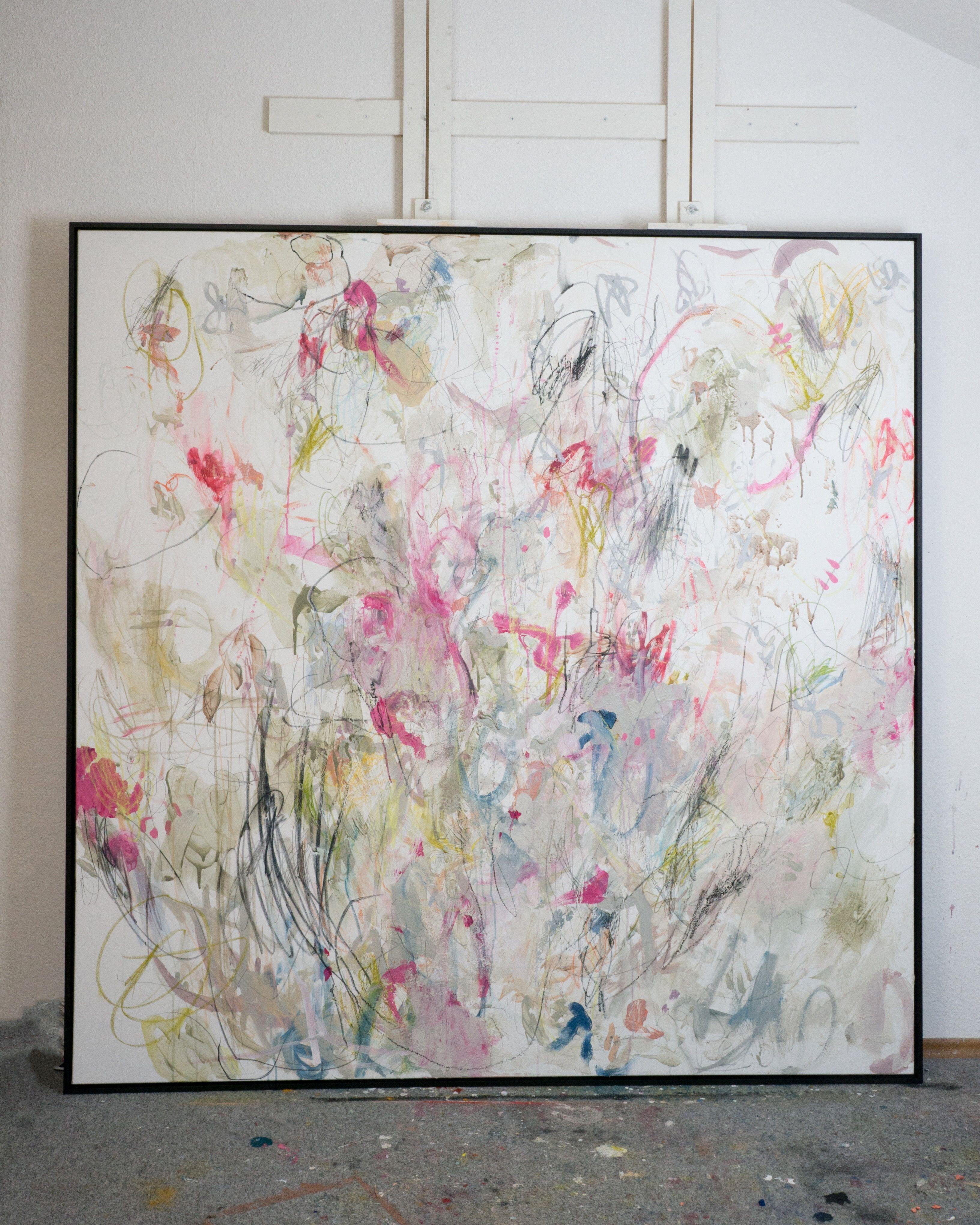 abstrakte kunst grossformat 170x170cm gerahmt katharina santl malerei abstrakt bilder 120x80 gemälde vögel