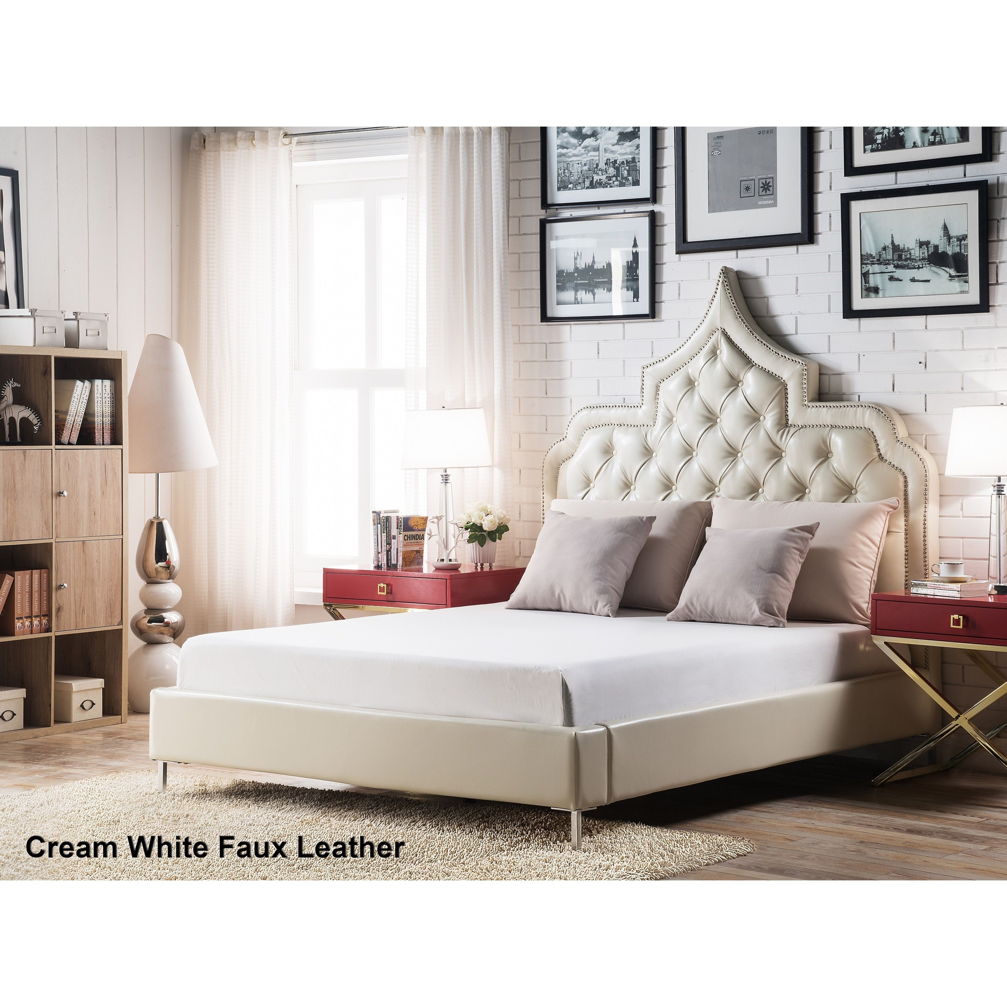 Chic Home Casablanca Cream (Ivory) White Bonded Leather Button Tufted Silver