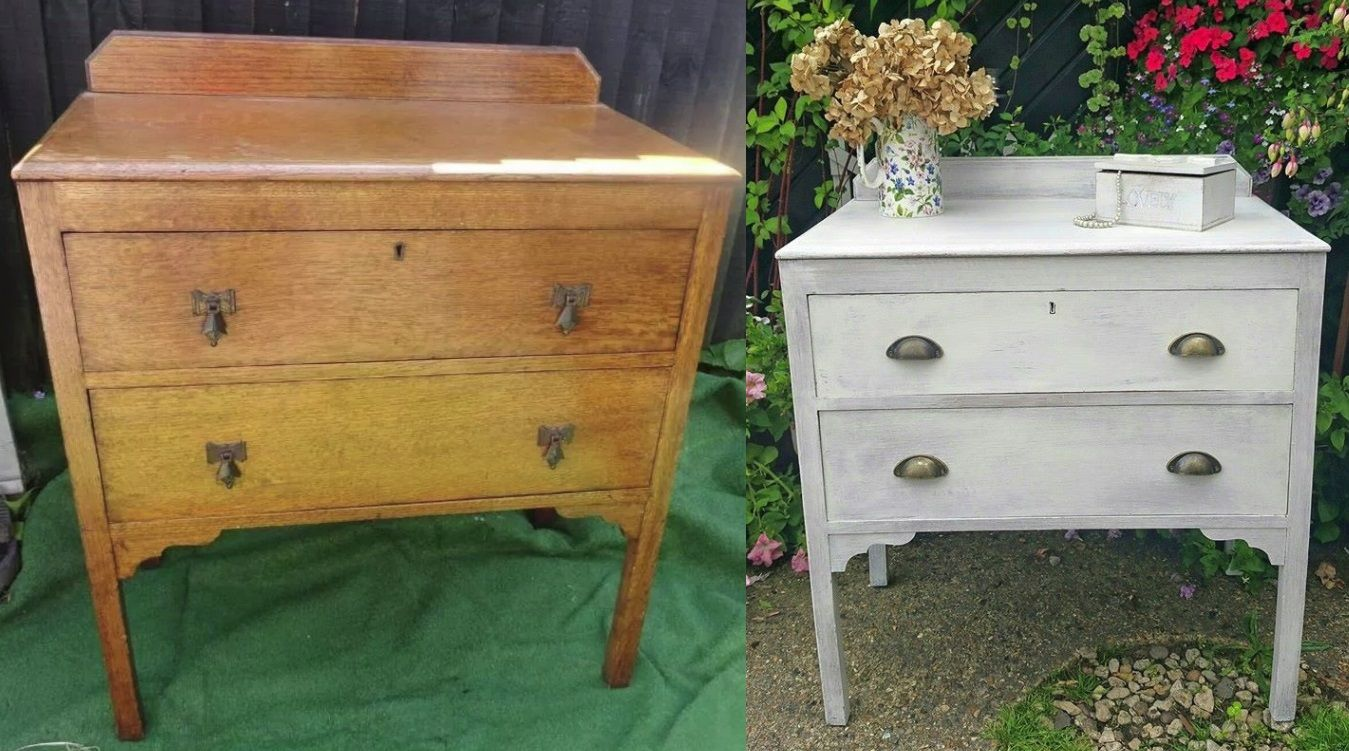 Before and after one coat of Rust-oleum Chalky White ...