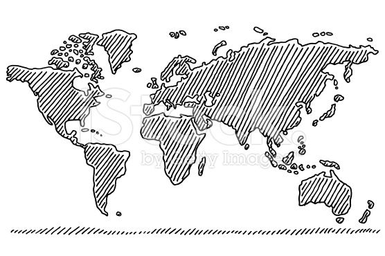 Hand drawn vector drawing of a loose scribble world map vector world map scribble drawing royalty free stock vector art gumiabroncs Image collections