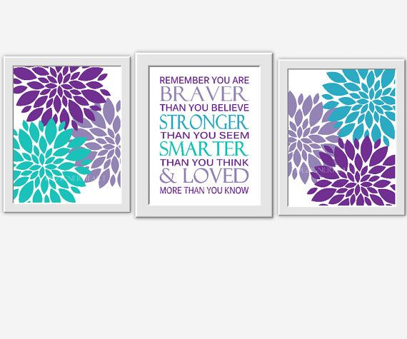 Baby Girl Nursery Wall Art Purple Lavender Aqua Teal Blue Flowers Burst Mums Dahlia Personalize Braver Stronger Smarter Loved SET OF 4 UNFRAMED PRINTS