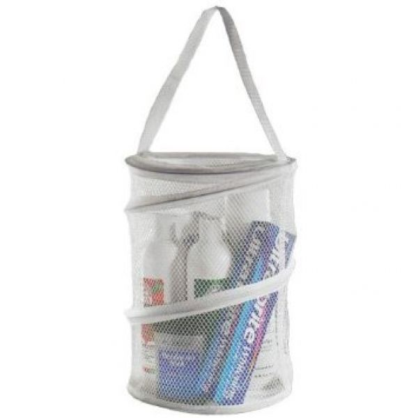 Bathroom Dorm Gym Travel Collapsable Round Nylon Mesh Caddy Shower Tote Storage