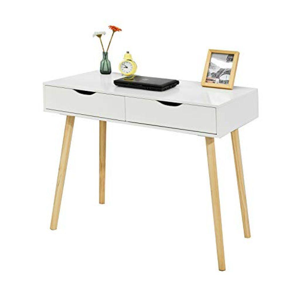 Sobuy Fwt40 Wn Schreibtisch Mit 2 Schubladen Tisch Computertisch