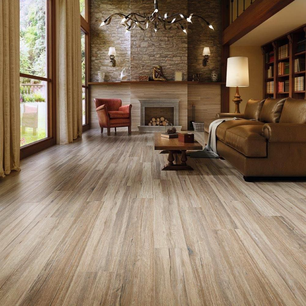 Navarro Beige Wood Plank Porcelain Tile Tile Floor Living Room