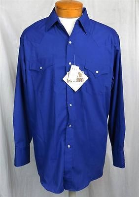 ca2bbd0093 Ely Cattleman Mens Western Shirt Large New Royal Blue Cowboy Pearl Snaps