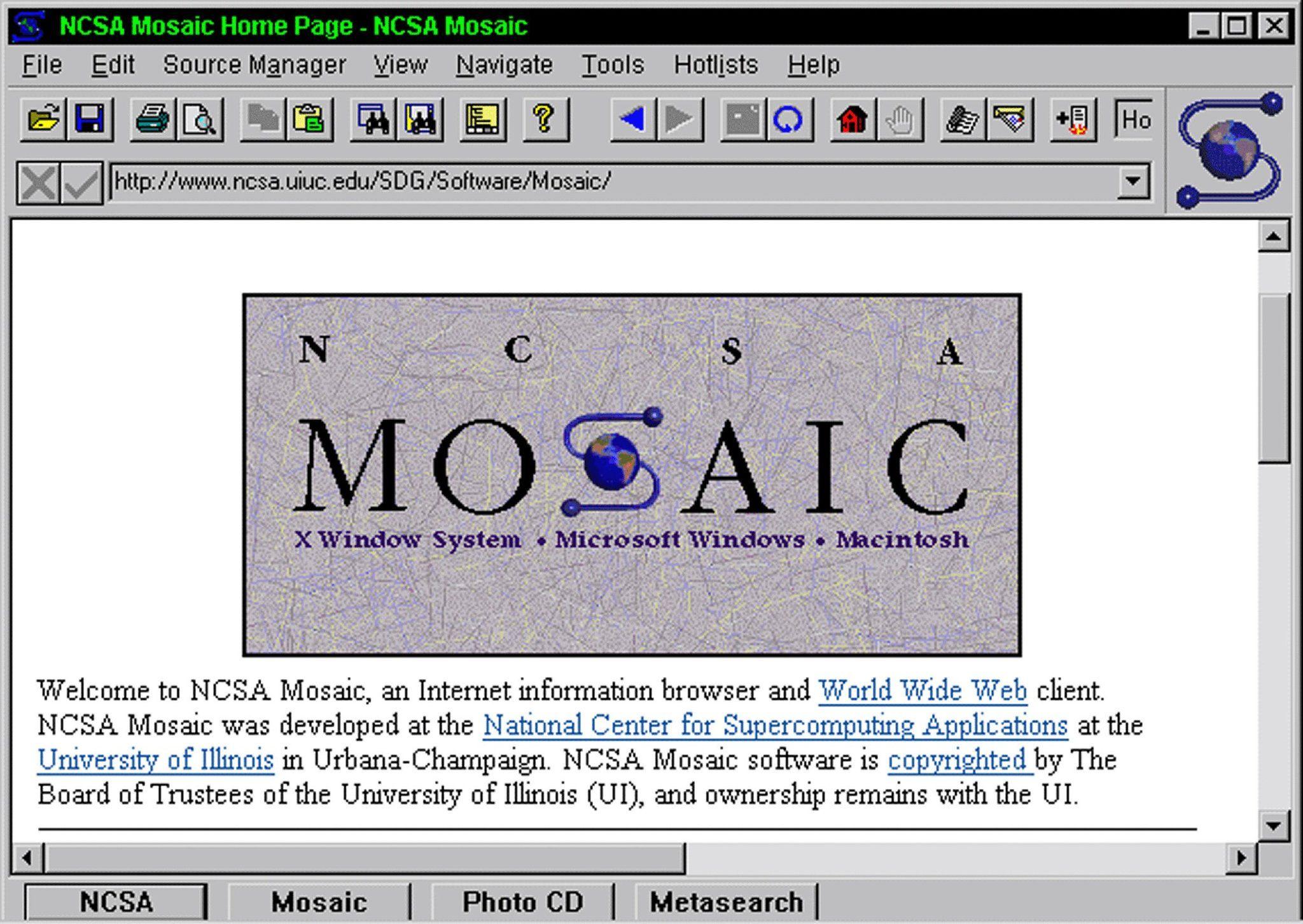 "The original web browser ""Mosiac"". Web browser, Browser"