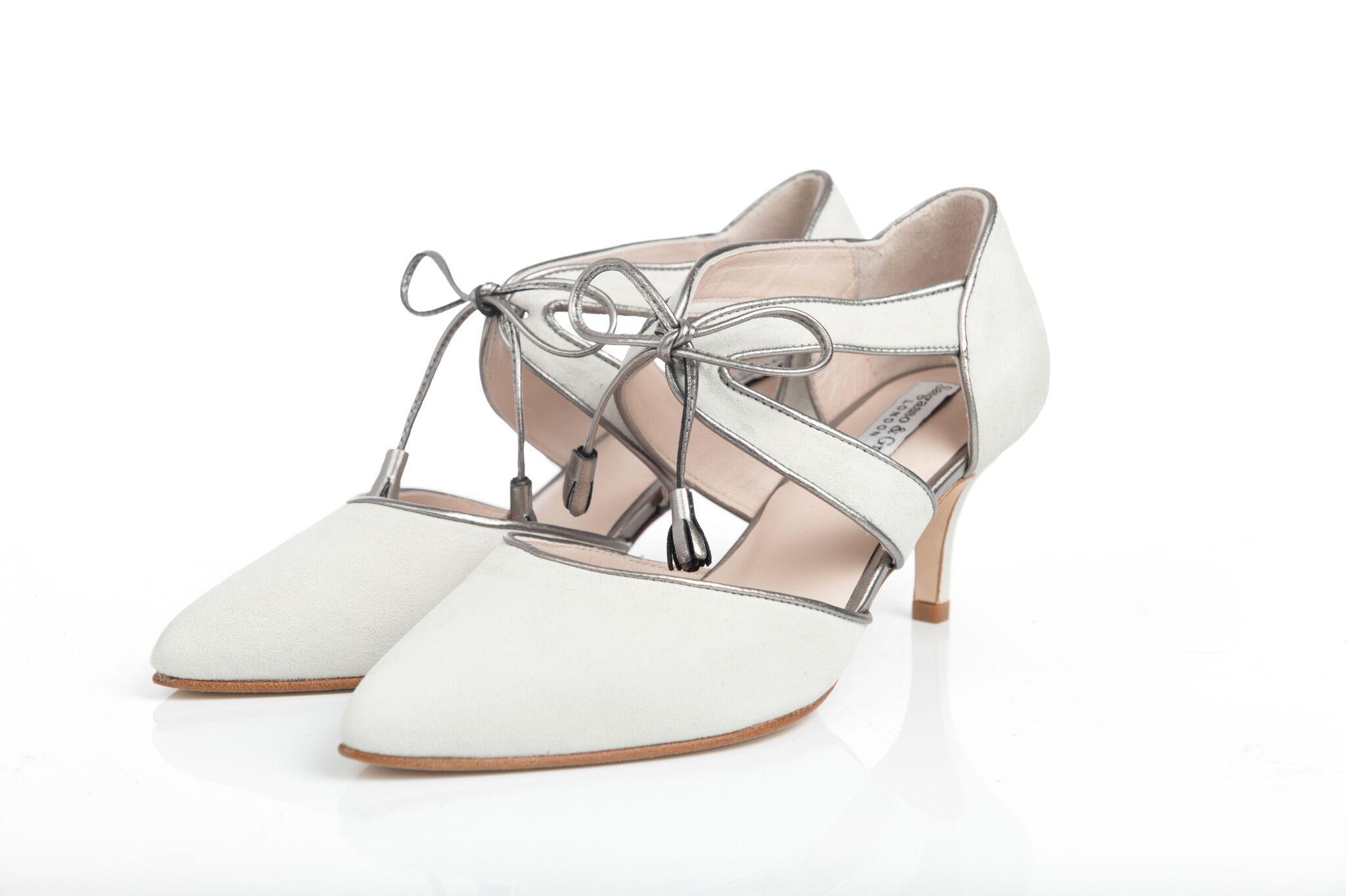 39e771c37cc2 Iris Ivory Wide Fit Bridal shoe by Sargasso   Grey