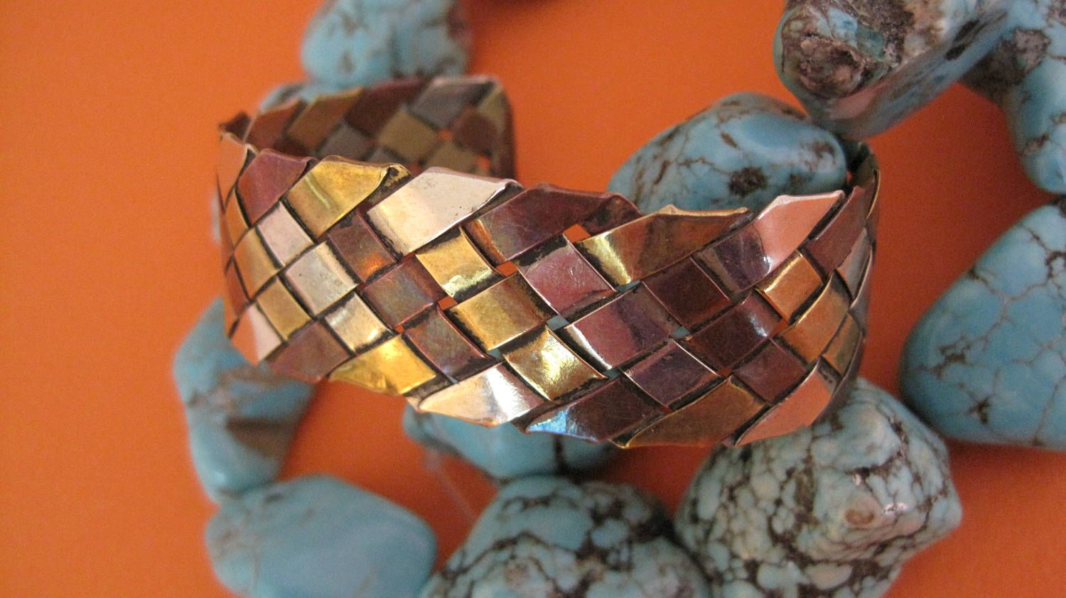 Old Modern Mixed Metals, Woven, Braided Copper, Sterling, Brass, Handmade Cuff, Bracelet by shopnestandcompany on Etsy