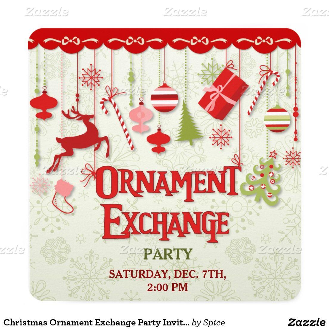 Christmas Ornament Exchange Party Invitation | Posh Parties ...