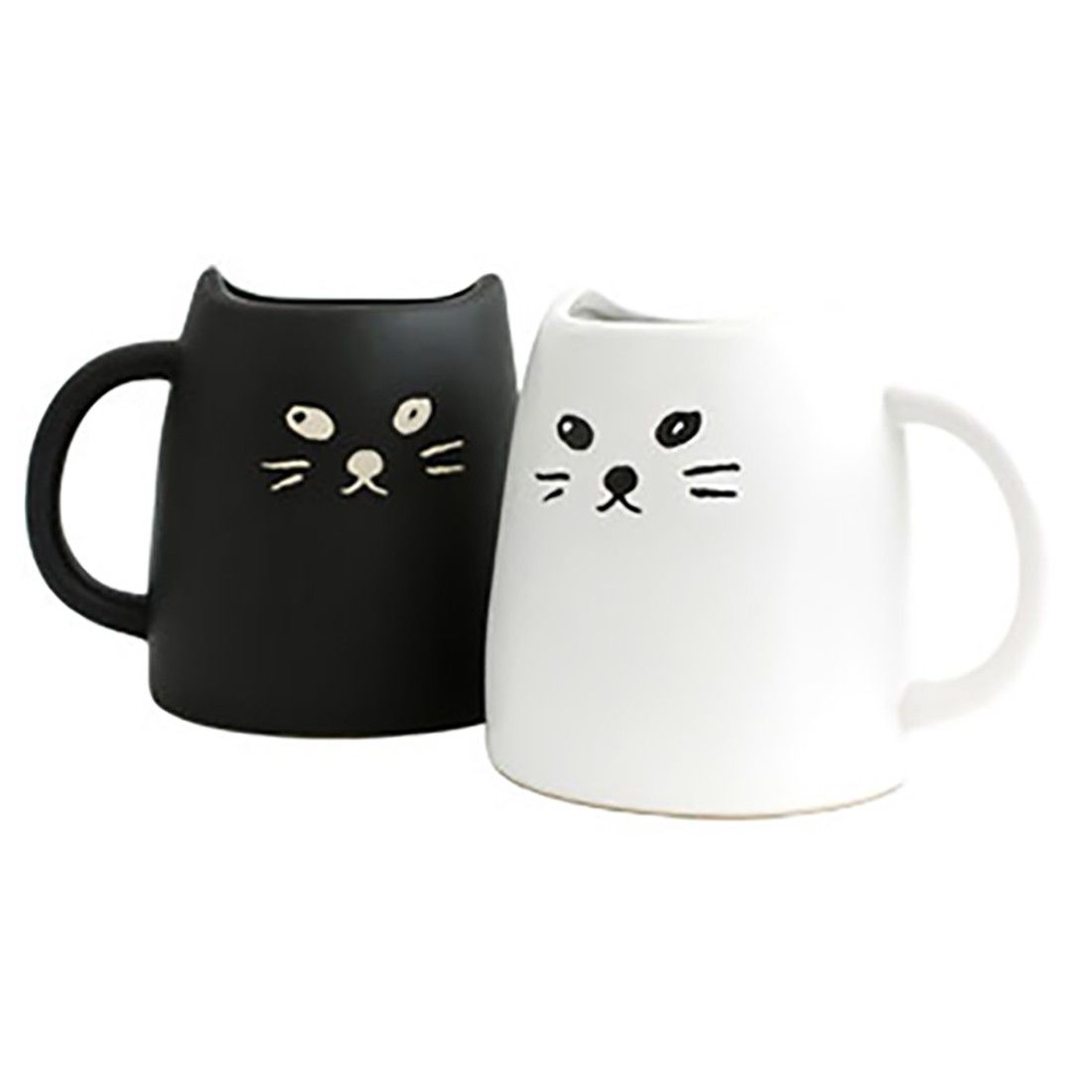Black white cat mug set cat lover unite these two cats