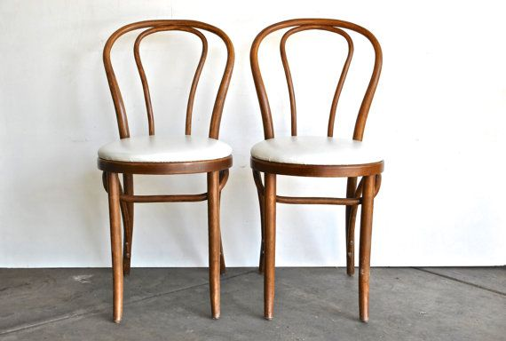 Antique Bentwood Chairs with White Upholstery - Thonet Style Cafe Chairs - Antique Bentwood Chairs With White Upholstery - Thonet Style Cafe