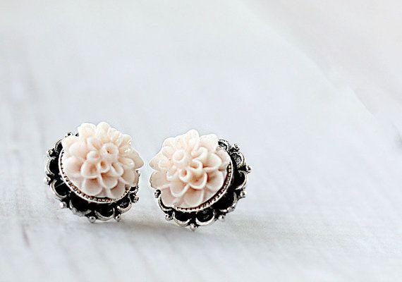 Dahlia Flower Earrings - Bridesmaids Flower Earrings - Blush Earrings - Flower Studs - Garden Wedding - Silver Post Earrings -Hypoallergenic
