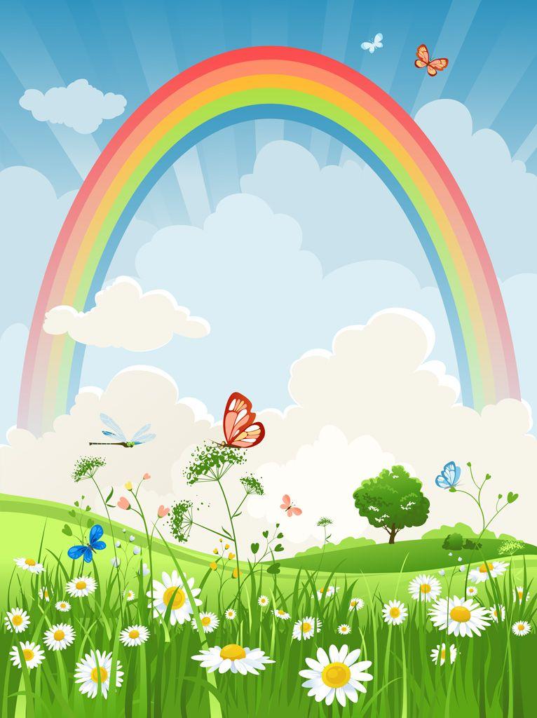 フリーイラスト素材 イラスト 風景 自然 虹 草原 花 ヒナギク