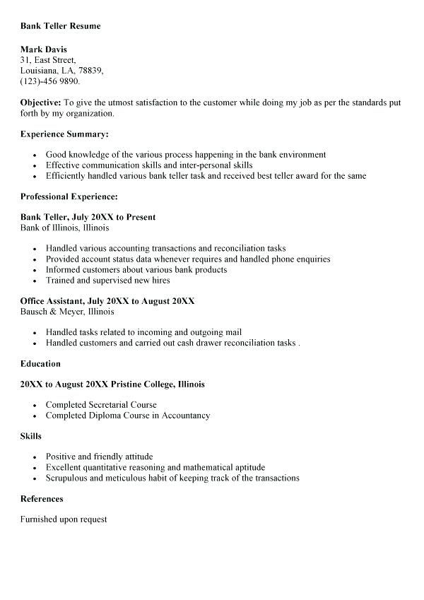 Resume Objective Example Bank Teller - Bank Teller Resume Sample