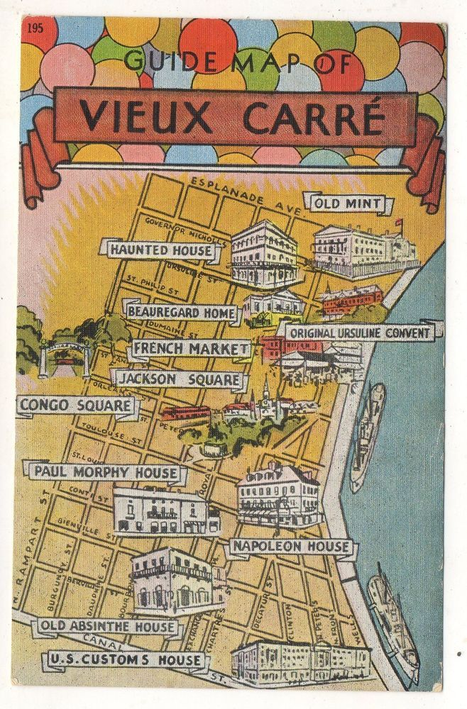 French Market New Orleans Map.Guide Map Of Vieux Carre French Quarter New Orleans La Vintage
