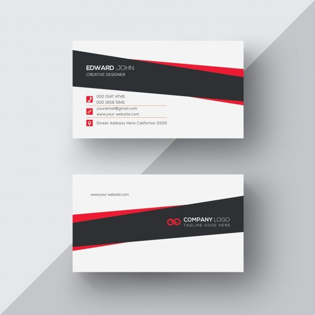 Download White Business Card With Black And Red Details For Free Free Business Card Templates Printing Business Cards Business Card Template Psd