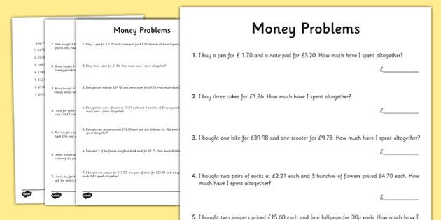 Money Word Problems - Twinkl Maths Pinterest Word problems - sample word problem worksheets