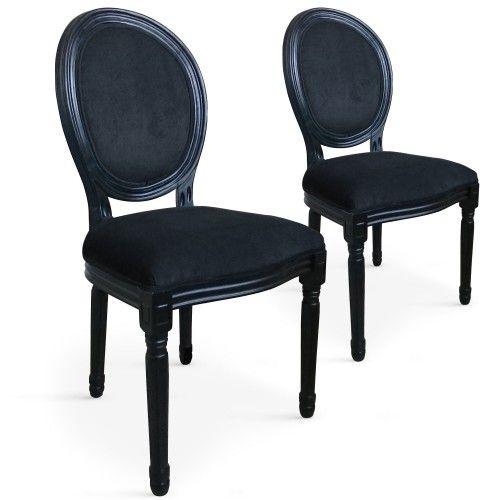 Lot De 2 Chaises Medaillon Royale Black Velours Noir Chaise Medaillon Salle A Manger Classique Meuble De Style