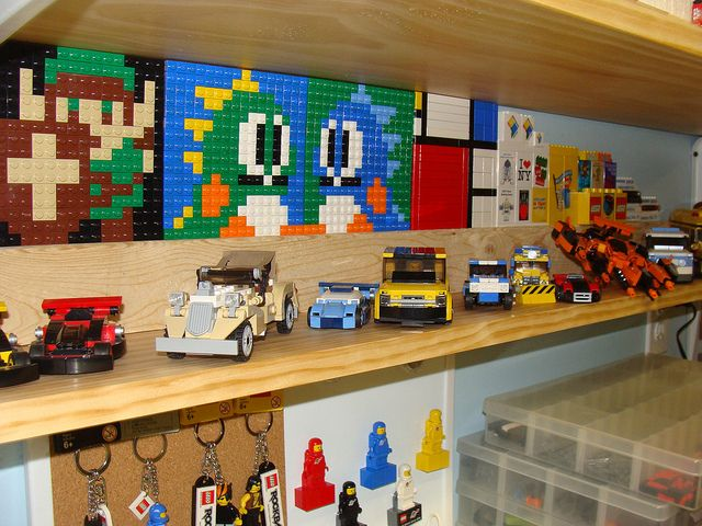 Pic Of A LEGO Display Shelf In My Basement. Pictured Are Various MOCs Iu0027