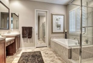 Contemporary Master Bathroom with Stone Tile, Master ...