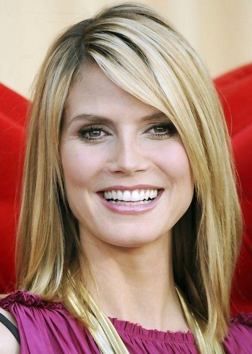 Heidi Klum Medium Length Hairstyle: Straight Haircut with Side ...
