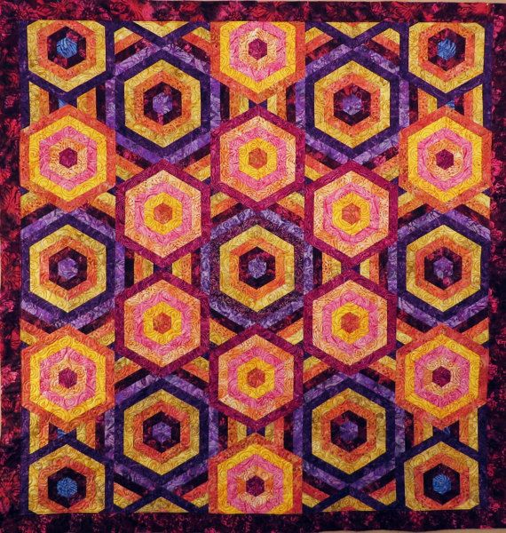 Quilted Batik Hexagon couch throw table by Quiltsbysuewaldrep