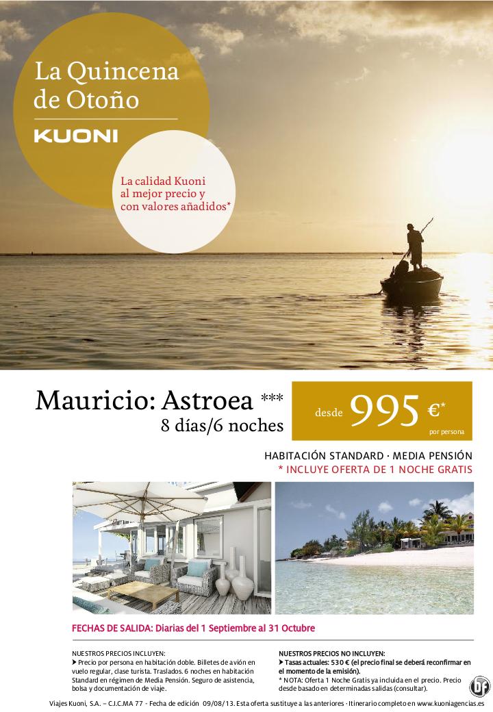 La Quincena de Otoño de Kuoni: Mauricio Astroea 3* desde 995 € (incluye 1 noche GRATIS) - http://zocotours.com/la-quincena-de-otono-de-kuoni-mauricio-astroea-3-desde-995-e-incluye-1-noche-gratis/