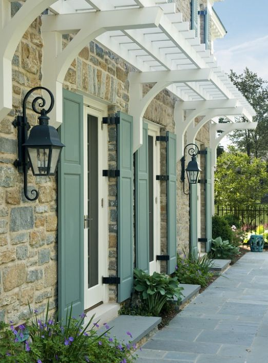 French country - shutters, overhang brackets   armoire   Pinterest ...