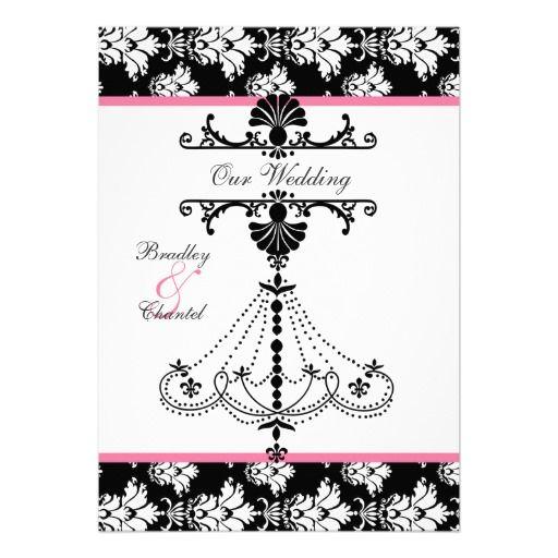 Pink,  Black, White Chandelier Wedding Invitation