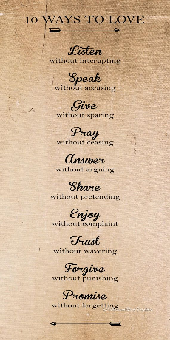 Vintage 10 Ways To Love / Quote / Words. This Is A Digital Download Image