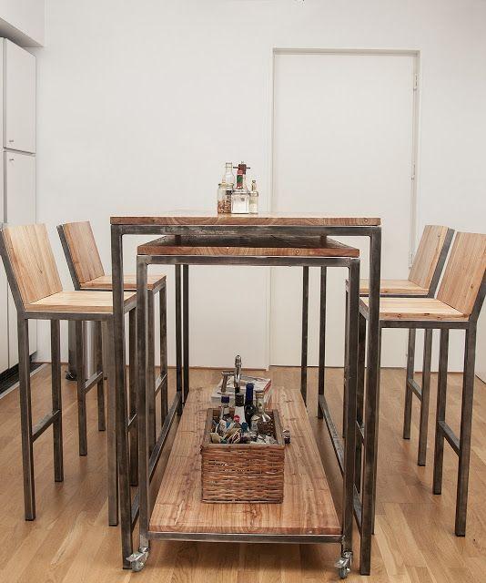 Mesa barra m vil chipi chipi madera y hierro https for Bar movil de madera