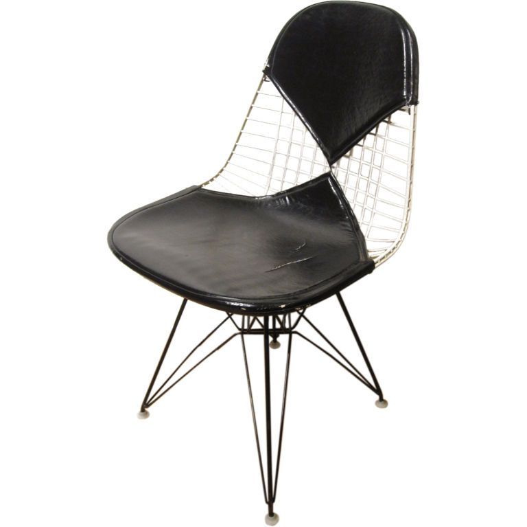 early eames wire chair with bikini pad   wire chair, modern chairs