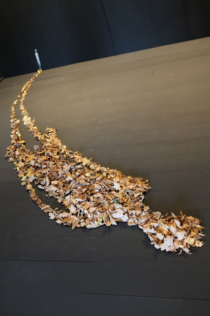 Brazilian street artist Herbert Baglione created this beautiful and amazing installation at Winterlong Gallerie in Niort, France. The giant shadow, made from thousands of dead leaves, starts from a tiny silhouette of a man cutout from the wall.
