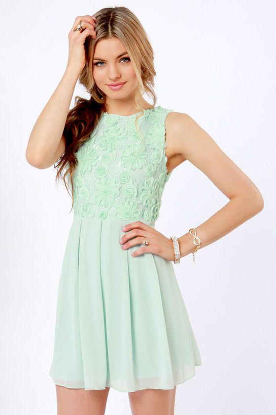 4a1b4c68a65 TFNC Sarah Dress - Mint Green Dress - Lace Dress -  90.00