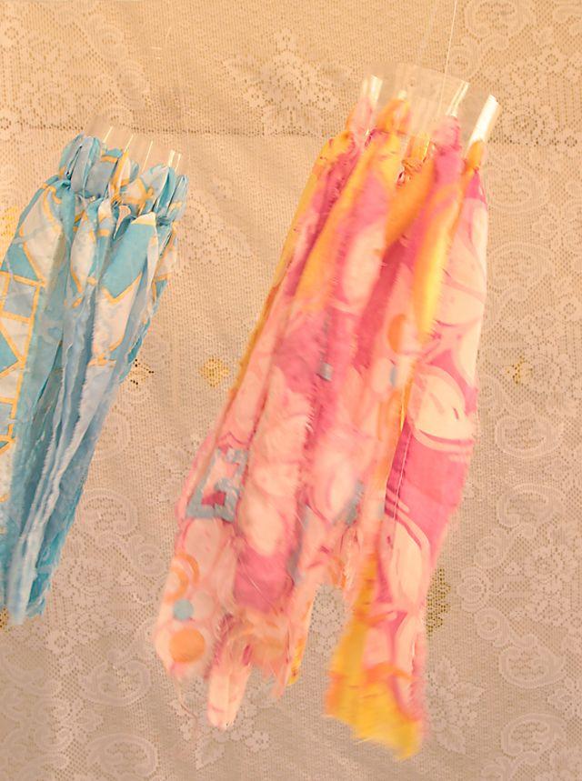 plastic bottle + rag material = windsock