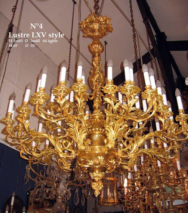 Lustre de style lxv bronze doré ø 1m20 chandelierluminaire