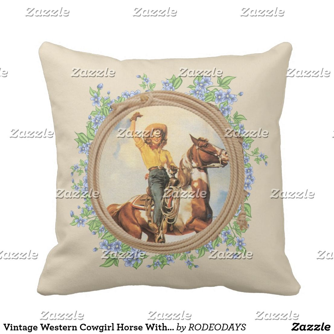 Horse With Rope Flowers Throw Pillow