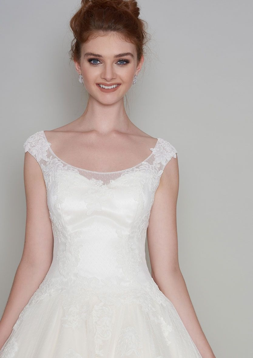 Winnie tea length wedding dress with dropped waist dress short