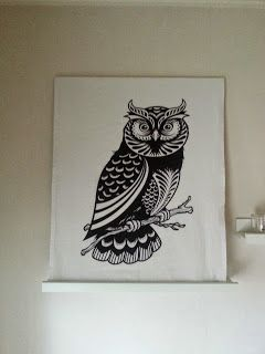 Owl wall decor from kichen towell
