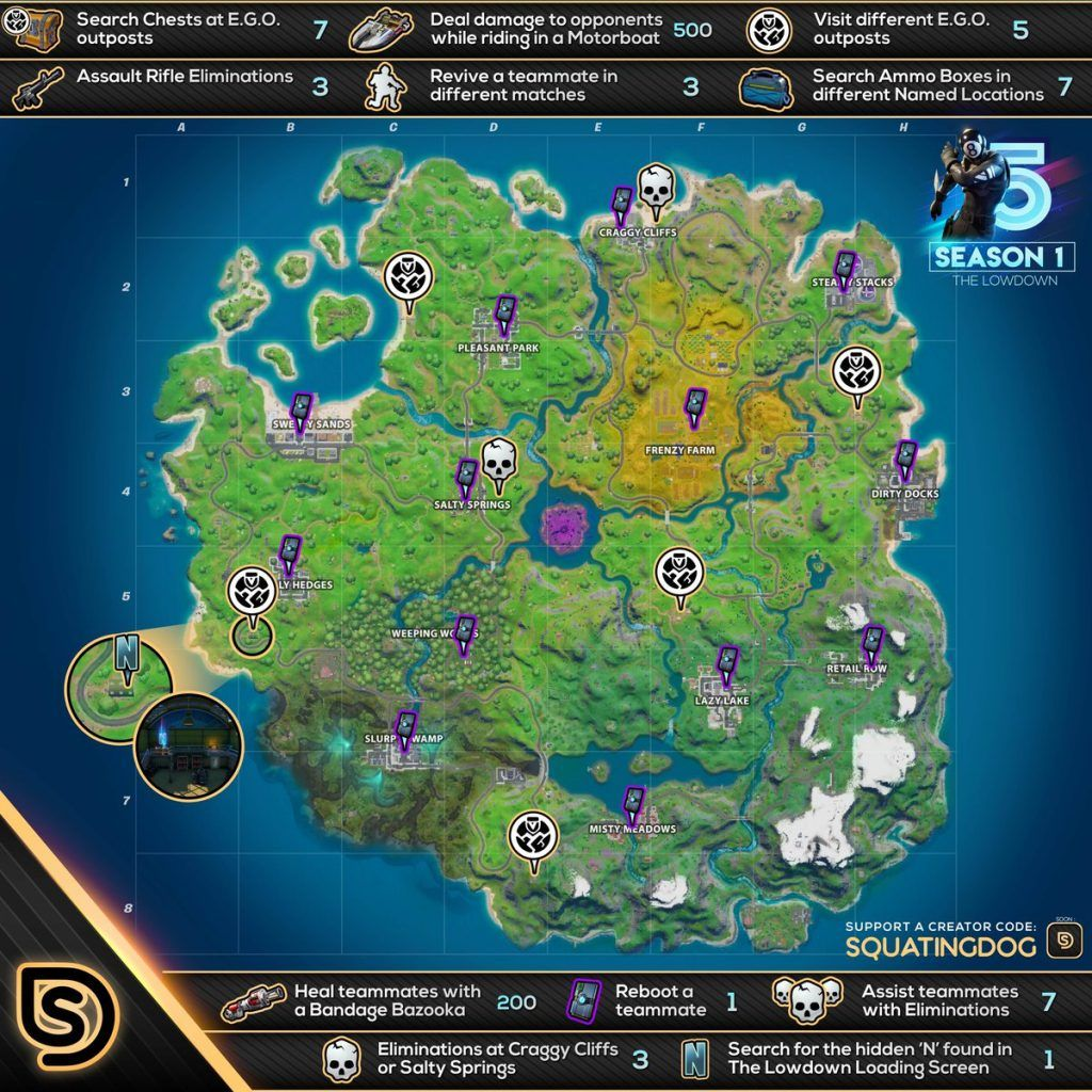 Cheat Sheet Map For All Week 5 The Lowdown Challenges In Fortnite