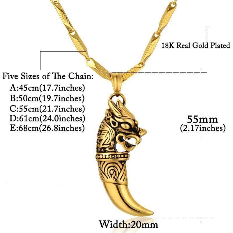 Photo of Golden Wolf Wolf Zahnkette für Herren