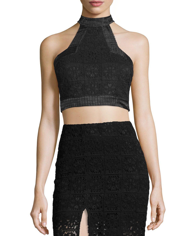 9d2f4d39152 Alexis Janek Lace High-Neck Crop Top | *Neiman Marcus* | High neck ...