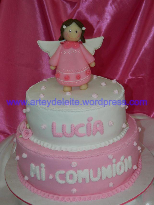 tortas de comunion en color rosa