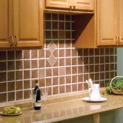 Easy way to update your backsplash Vinyl Ceramic Look Tiles 4\u0027 x 4
