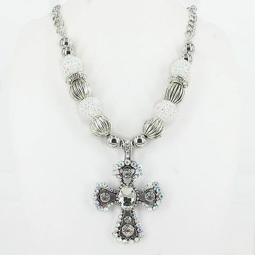Necklace Western Cowgirl Rodeo Chuncky Rhinestone Cross Bead Womens Crystal #ssfashion #Chain