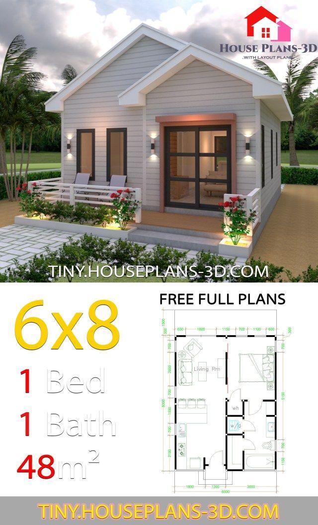 Rumah Minimalis 6x8 1 Lantai : rumah, minimalis, lantai, Studio, House, Plans, Gable, Simple, Plans,, Small, Design