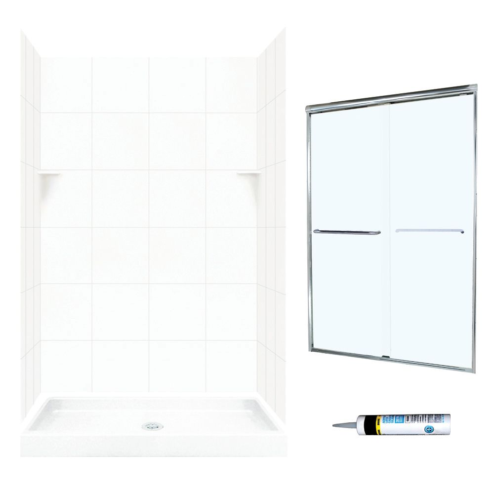 Swan Solid Surface 48 In X 32 In X 72 In 5 Piece Alcove Shower Kit