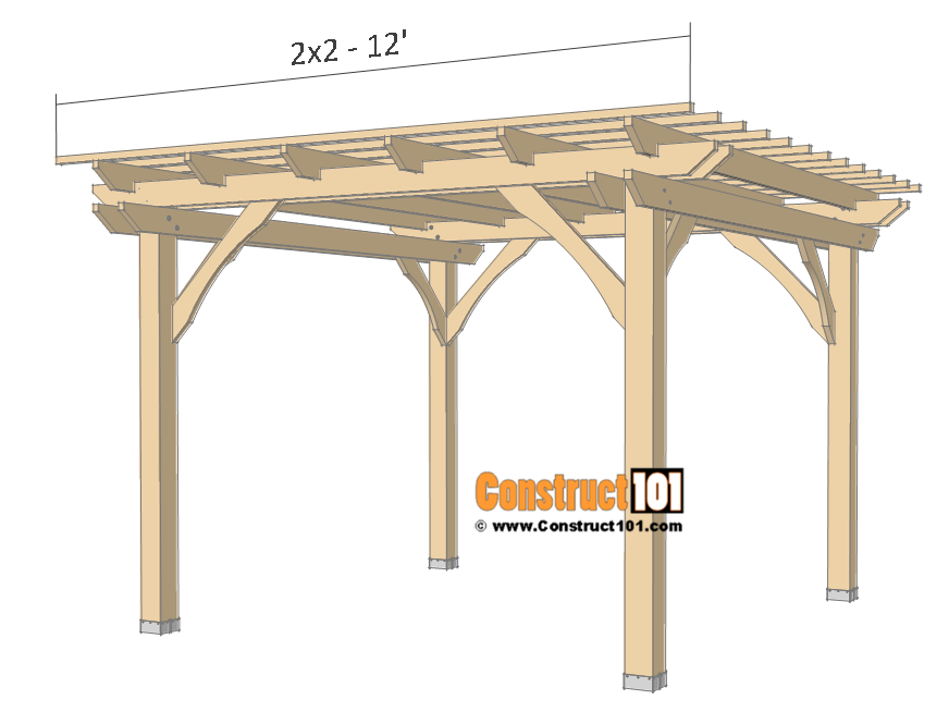 10x10 Pergola Plans Free Pdf Download Construct101 In 2020 Pergola Plans Pergola Pergola Canopy
